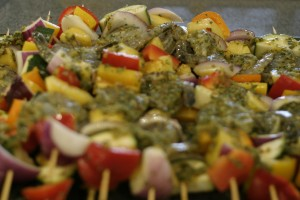 Fiery Shrimp Skewers with Pineapple and Mint