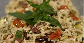 Summertime Orzo Salad with Roasted Tomato and Olives