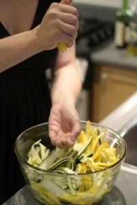 Green and Gold Zucchini Ribbon Salad