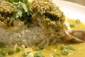 Curried Peanut Stuffed Shrimp