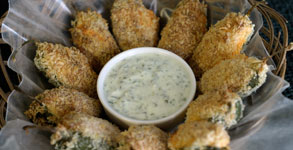 Pub Night:  Baked Jalapeno Poppers with Cilantro Lime Yoghurt Dip