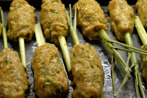 Thai Red Curry Chicken Kebabs on Lemongrass Skewers