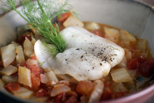 Poached White Fish With Fennel, Tomato and Capers