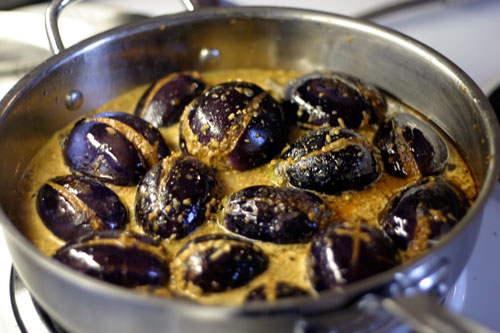 Bharvaan Baingan:  Indian Spice Stuffed Baby Eggplant