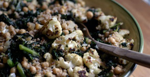 Farro with Roasted Cauliflower, Chickpeas and Kale