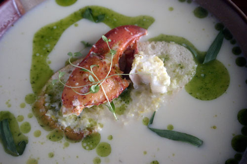 Sweet Corn & Lobster Soup with Tarragon Chive Oil