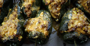 Cheesy Chorizo and Corn Stuffed Poblanos