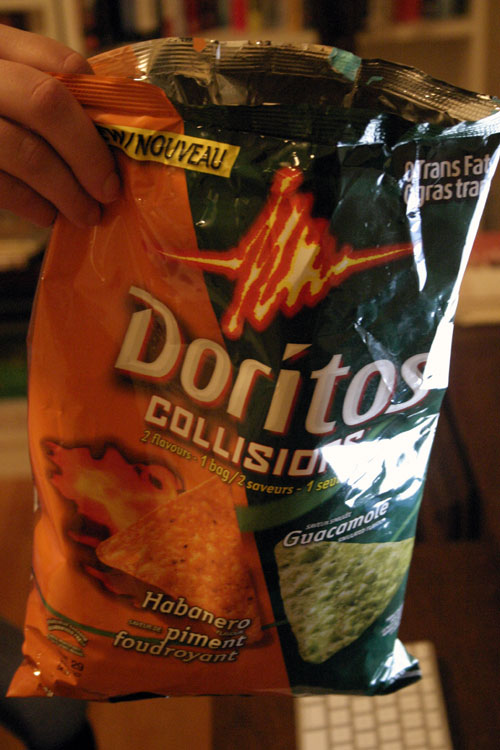 This snack ROCKS:  Doritos Collisions   Habanero and Guacamole