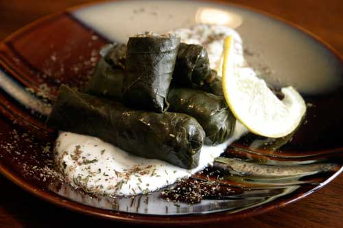 Brown Rice and Lentil Vine Leaf Rolls