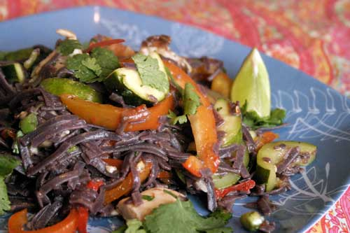 Spicy Thai Black Rice Noodle Chicken Stirfry
