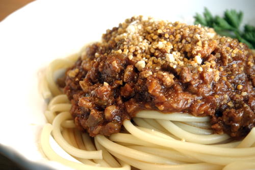 Buccatini with Lamb and Walnut Ragu