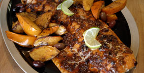 Slow Roasted Salmon with Olives and Broiled Balsamic Persimmons