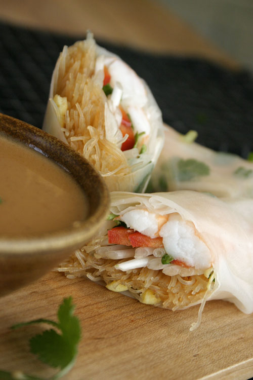 Pad Thai Summer Rolls with Peanut Sauce