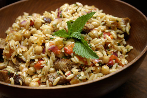 Orzo with Merguez Sausage and Chickpeas