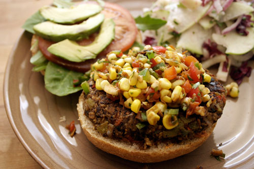Black Bean Burgers with Corn and Cilantro Relish
