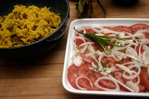 South African Geel Rys (Yellow Rice) with Tomato Salad