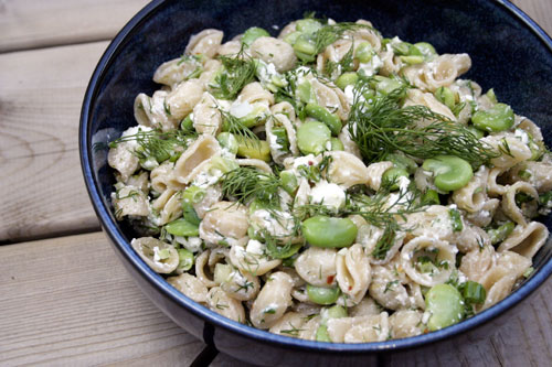 Lemony Orechiette with Fresh Fava, Feta and Dill