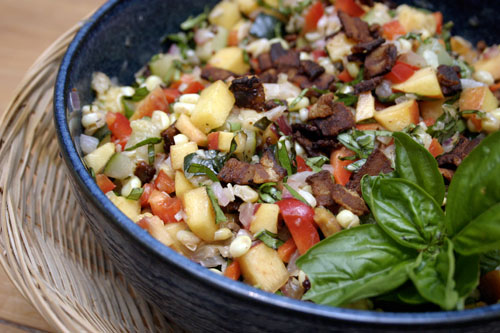 Peach, Corn and Zucchini Salad with Bacon