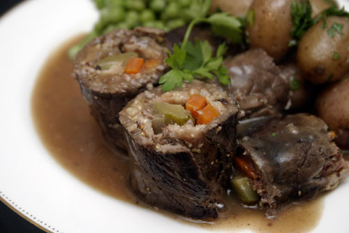 Rouladen: German Beef Rolls Stuffed with Bacon and Pickles