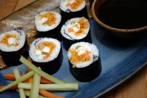 Buffalo chicken sushi choosy beggars for Angry fish sushi