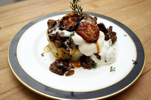 February Kitchen Play Part 3:  Sherried Beef Shank on Herbed Polenta with Roasted Tomatoes and Mascarpone Cream.