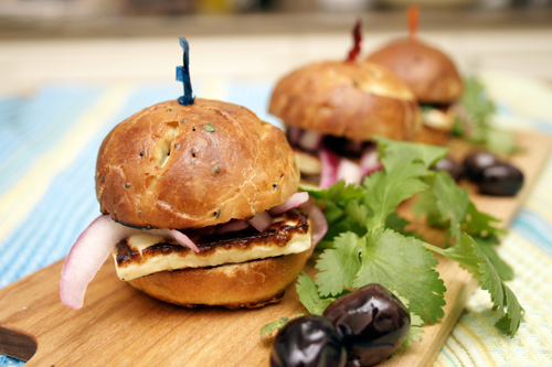 Halloumi Sliders on Nigella Rolls with Quick Pickled Onions