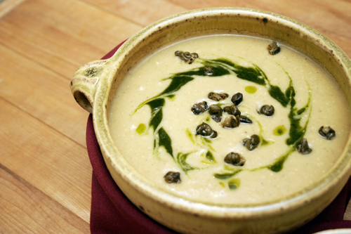 Vegantines Day: Spice Roasted Cauliflower Soup with Fried Capers