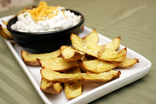 Baked Potato Skins with Fully Loaded Dip
