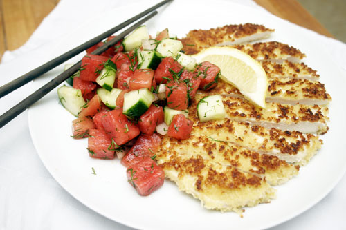 Chicken Katsu with Savoury Watermelon Salad