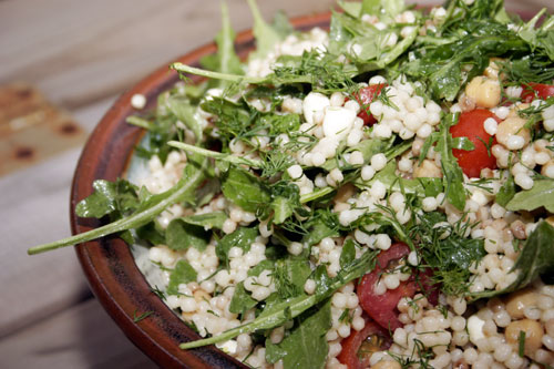 Lemony Israeli Couscous with Tomato, Arugula, Chickpea and Bocconcini