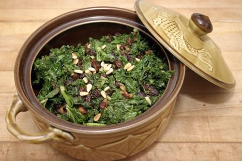 Wilted Kale with Pancetta, Raisins and Pine nuts