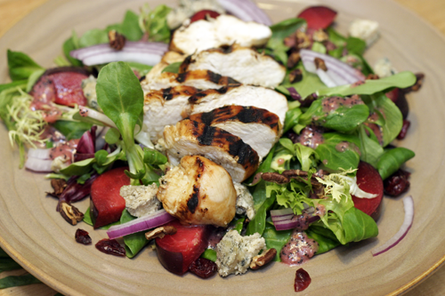 Grilled Chicken Summer Salad with Blue Cheese